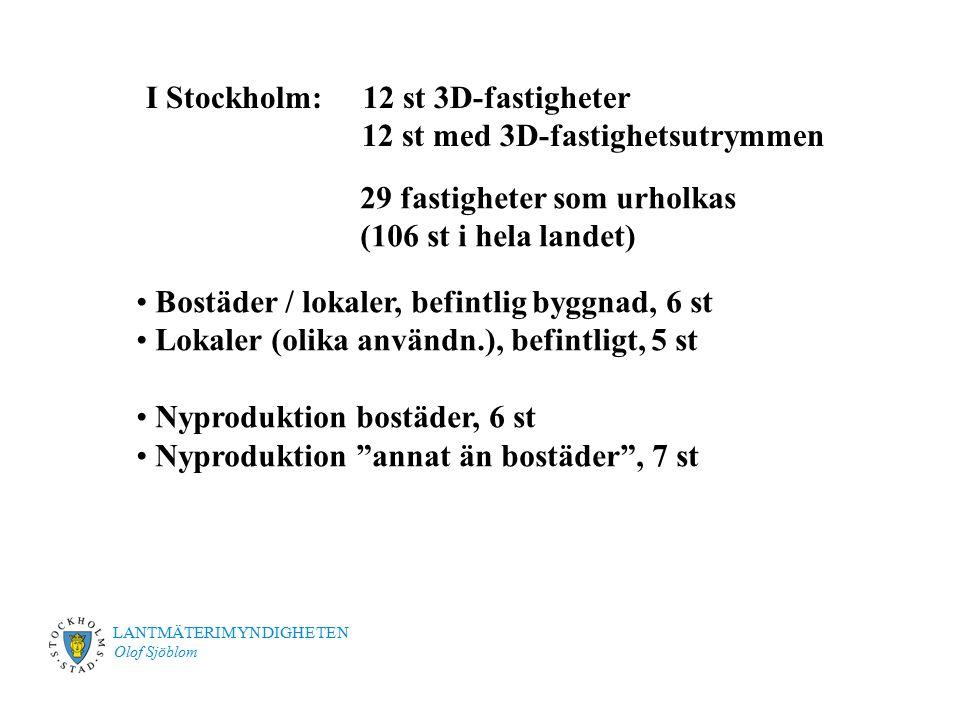 LANTMÄTERIMYNDIGHETEN Olof Sjöblom I Stockholm: 12 st 3D-fastigheter 12 st med 3D-fastighetsutrymmen 29 fastigheter som urholkas (106 st i hela landet