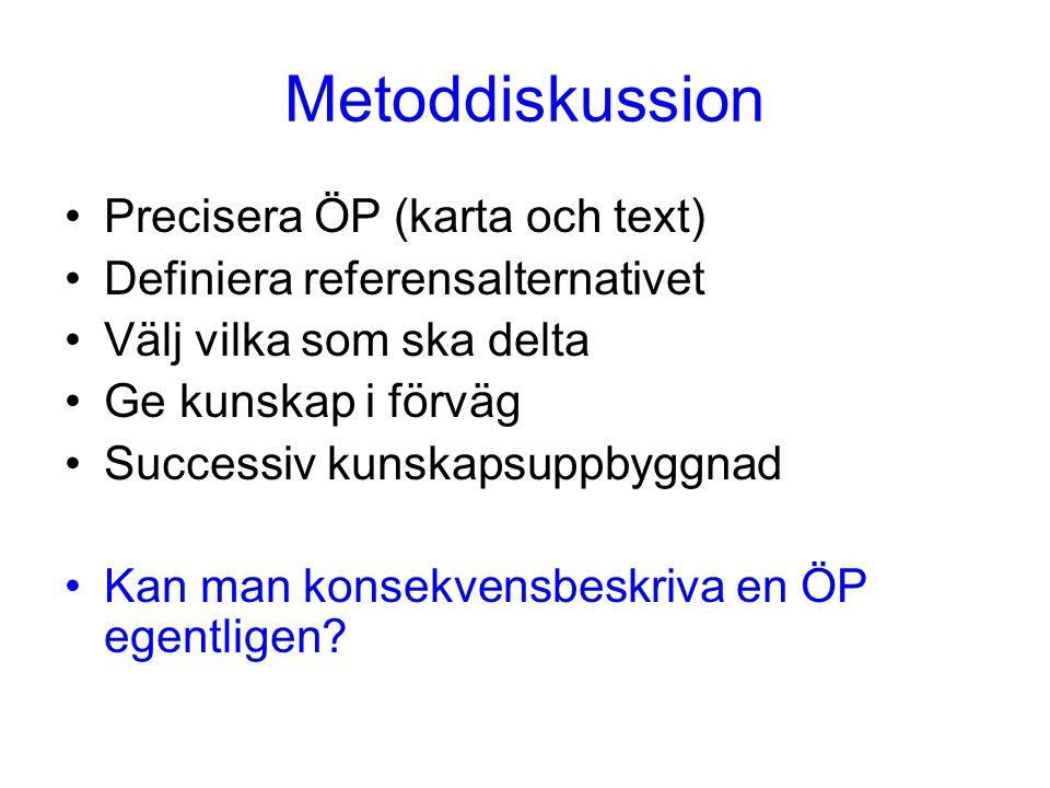 Metoddiskussion Precisera ÖP (karta och text) Definiera referensalternativet Välj vilka som ska delta Ge kunskap i förväg Successiv kunskapsuppbyggnad Kan man konsekvensbeskriva en ÖP egentligen