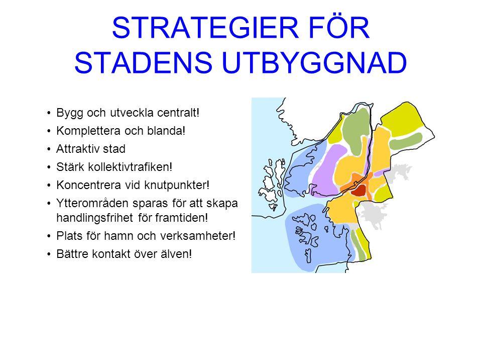 STRATEGIER FÖR STADENS UTBYGGNAD Bygg och utveckla centralt.