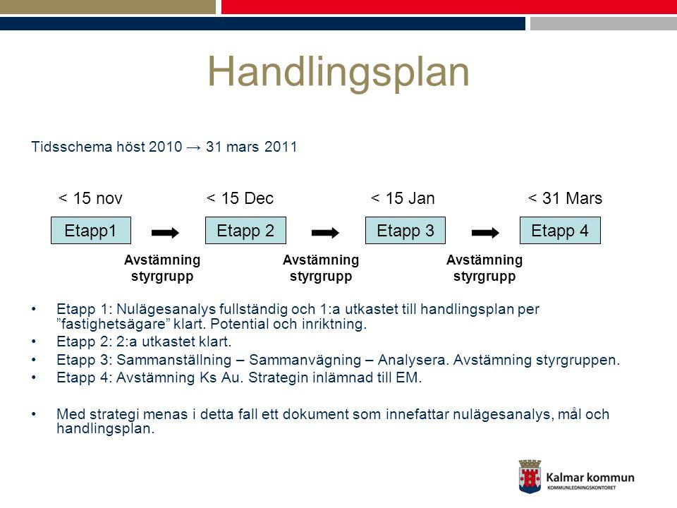 Handlingsplan Tidsschema höst 2010 → 31 mars 2011 Etapp 1: Nulägesanalys fullständig och 1:a utkastet till handlingsplan per fastighetsägare klart.