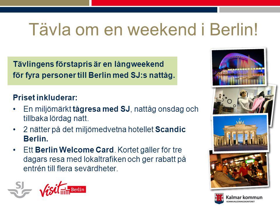 Tävla om en weekend i Berlin! Tävlingens förstapris är en långweekend för fyra personer till Berlin med SJ:s nattåg. Priset inkluderar: En miljömärkt