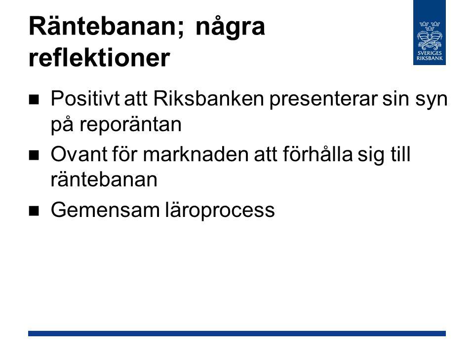 Räntebanan; några reflektioner Positivt att Riksbanken presenterar sin syn på reporäntan Ovant för marknaden att förhålla sig till räntebanan Gemensam läroprocess