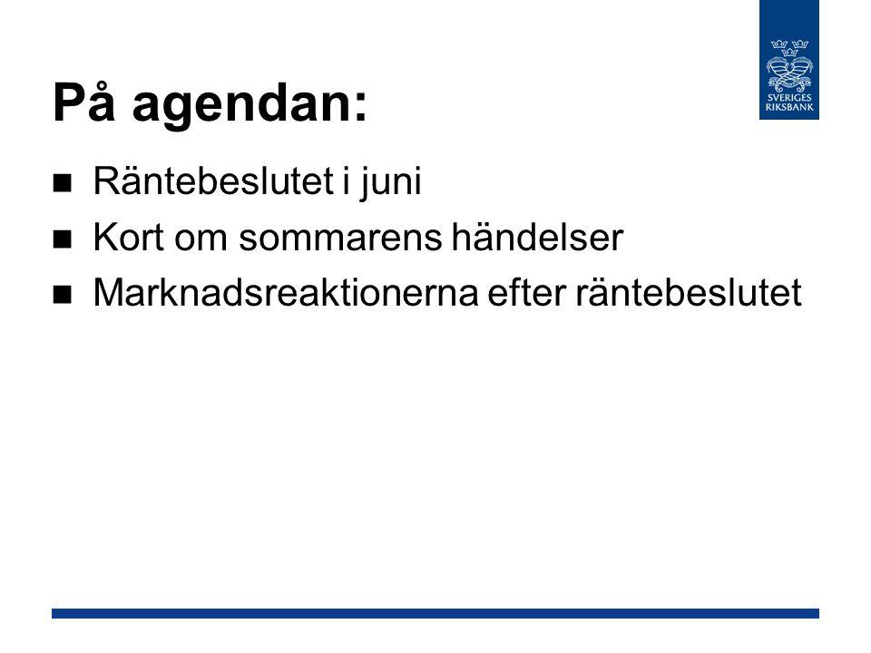 På agendan: Räntebeslutet i juni Kort om sommarens händelser Marknadsreaktionerna efter räntebeslutet