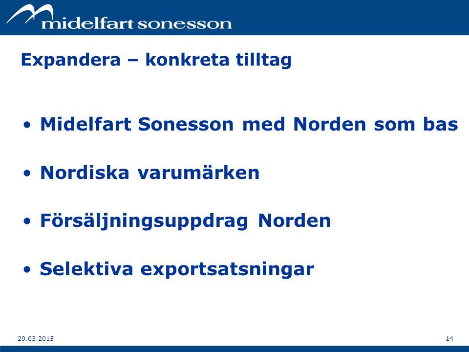 1429.03.201514 Expandera – konkreta tilltag Midelfart Sonesson med Norden som bas Nordiska varumärken Försäljningsuppdrag Norden Selektiva exportsatsningar