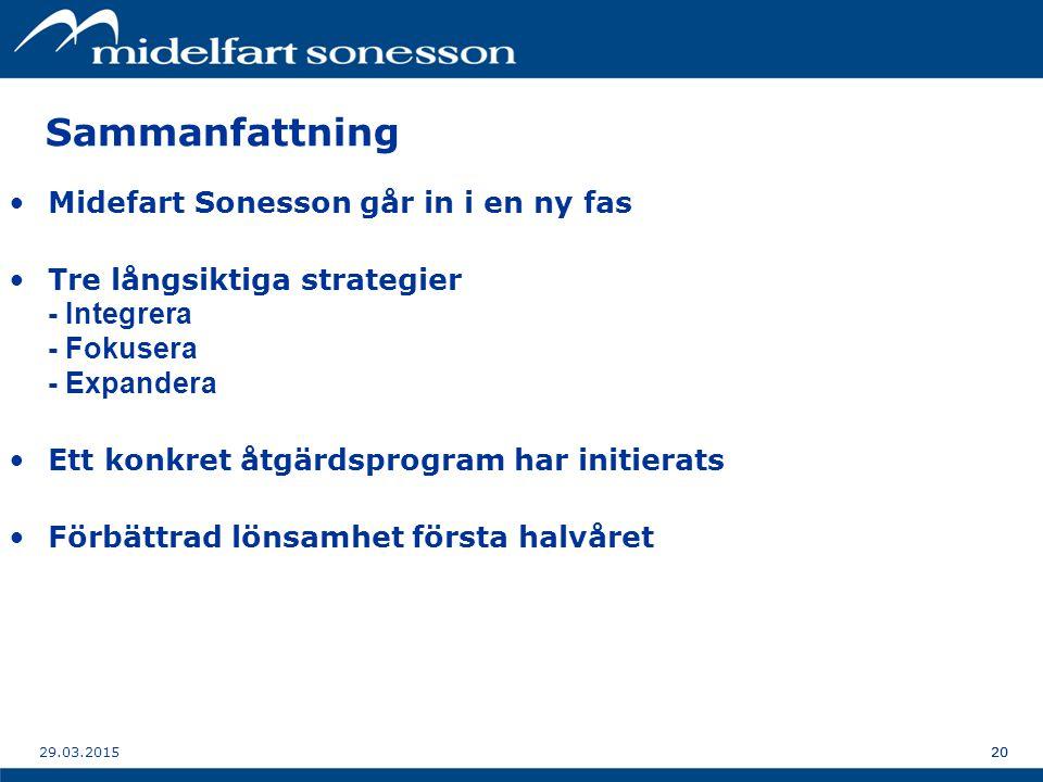 2029.03.201520 Sammanfattning Midefart Sonesson går in i en ny fas Tre långsiktiga strategier - Integrera - Fokusera - Expandera Ett konkret åtgärdsprogram har initierats Förbättrad lönsamhet första halvåret