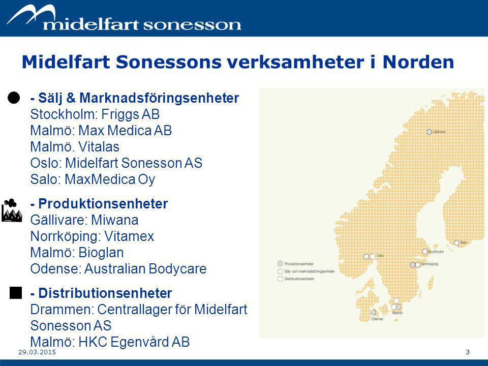 329.03.20153 Midelfart Sonessons verksamheter i Norden - Sälj & Marknadsföringsenheter Stockholm: Friggs AB Malmö: Max Medica AB Malmö.