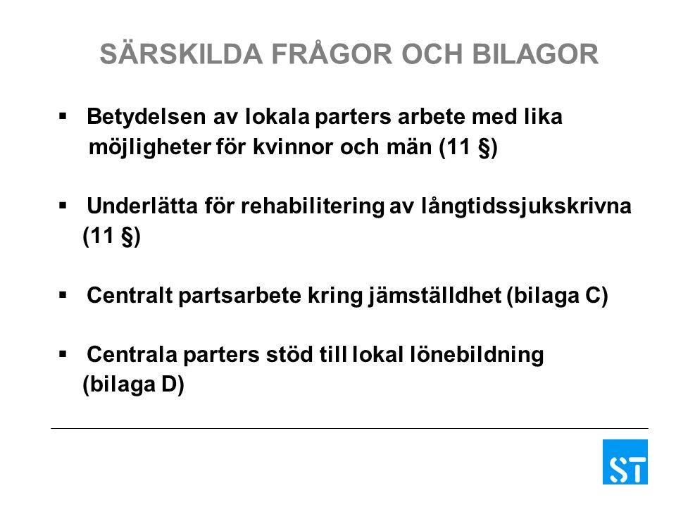 SÄRSKILDA FRÅGOR OCH BILAGOR  Betydelsen av lokala parters arbete med lika möjligheter för kvinnor och män (11 §)  Underlätta för rehabilitering av långtidssjukskrivna (11 §)  Centralt partsarbete kring jämställdhet (bilaga C)  Centrala parters stöd till lokal lönebildning (bilaga D)