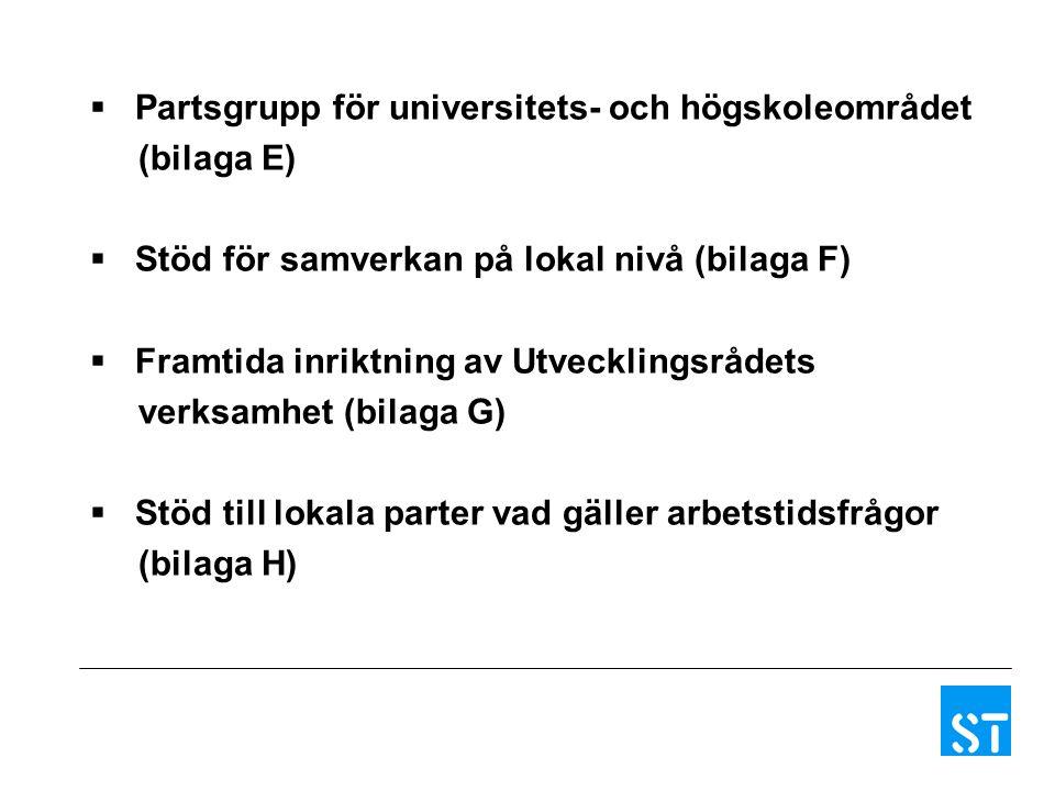  Partsgrupp för universitets- och högskoleområdet (bilaga E)  Stöd för samverkan på lokal nivå (bilaga F)  Framtida inriktning av Utvecklingsrådets verksamhet (bilaga G)  Stöd till lokala parter vad gäller arbetstidsfrågor (bilaga H)