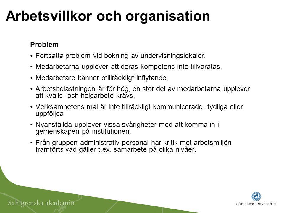 Arbetsvillkor och organisation Problem Fortsatta problem vid bokning av undervisningslokaler, Medarbetarna upplever att deras kompetens inte tillvarat