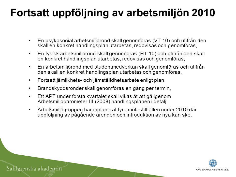 Fortsatt uppföljning av arbetsmiljön 2010 En psykosocial arbetsmiljörond skall genomföras (VT 10) och utifrån den skall en konkret handlingsplan utarb