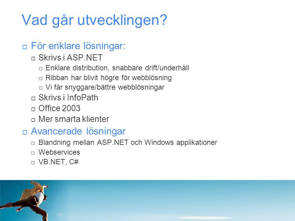 Vad går utvecklingen?  För enklare lösningar:  Skrivs i ASP.NET  Enklare distribution, snabbare drift/underhåll  Ribban har blivit högre för webbl