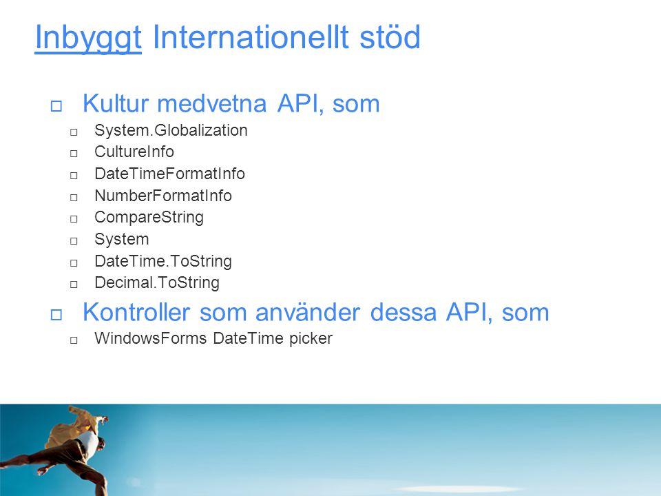 Inbyggt Internationellt stöd  Kultur medvetna API, som  System.Globalization  CultureInfo  DateTimeFormatInfo  NumberFormatInfo  CompareString 