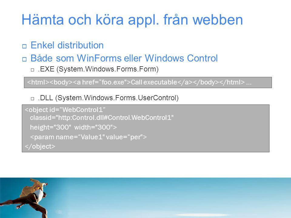 Hämta och köra appl. från webben  Enkel distribution  Både som WinForms eller Windows Control .EXE (System.Windows.Forms.Form) .DLL (System.Window