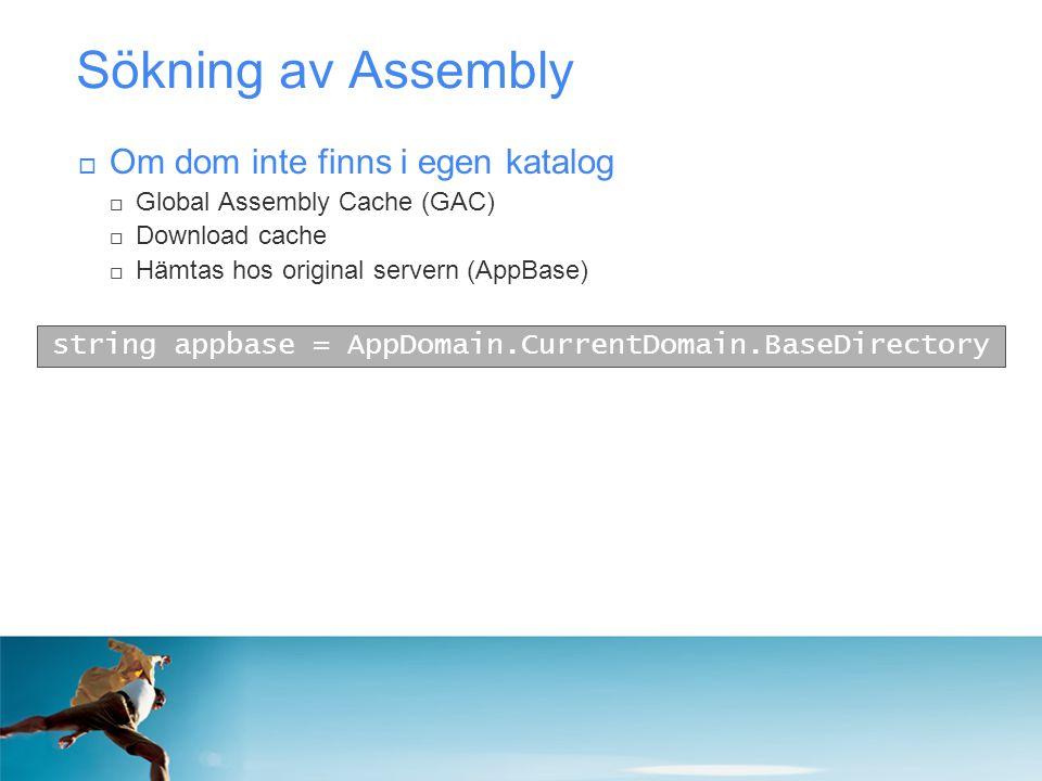 Sökning av Assembly  Om dom inte finns i egen katalog  Global Assembly Cache (GAC)  Download cache  Hämtas hos original servern (AppBase) string a
