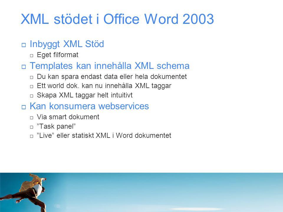 XML stödet i Office Word 2003  Inbyggt XML Stöd  Eget filformat  Templates kan innehålla XML schema  Du kan spara endast data eller hela dokumente