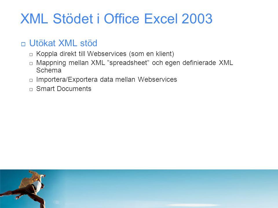 """XML Stödet i Office Excel 2003  Utökat XML stöd  Koppla direkt till Webservices (som en klient)  Mappning mellan XML """"spreadsheet"""" och egen definie"""