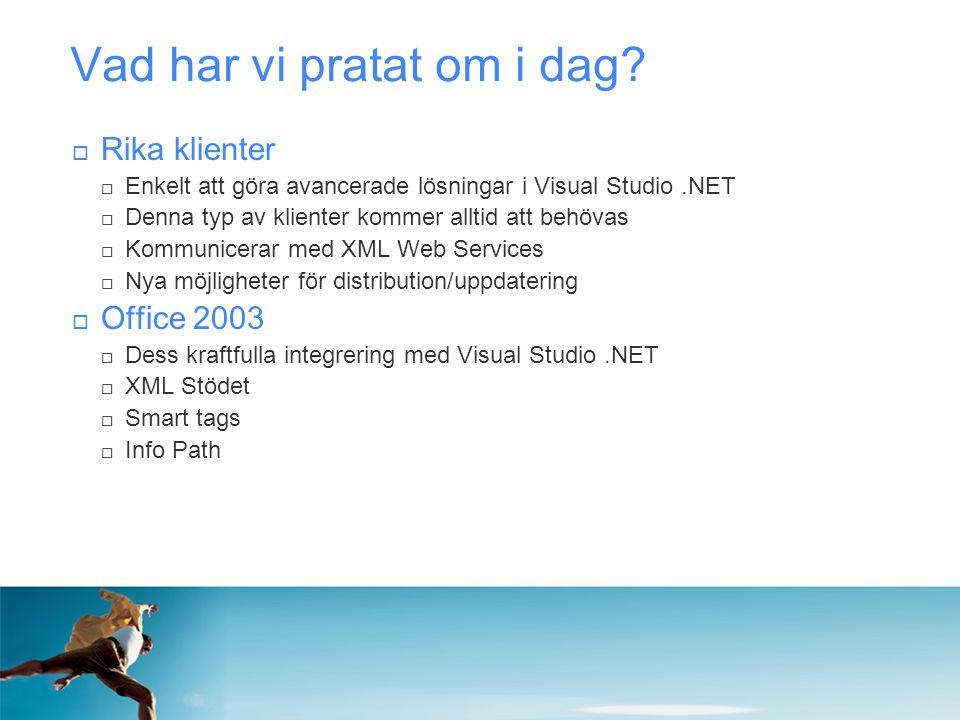 Vad har vi pratat om i dag?  Rika klienter  Enkelt att göra avancerade lösningar i Visual Studio.NET  Denna typ av klienter kommer alltid att behöv