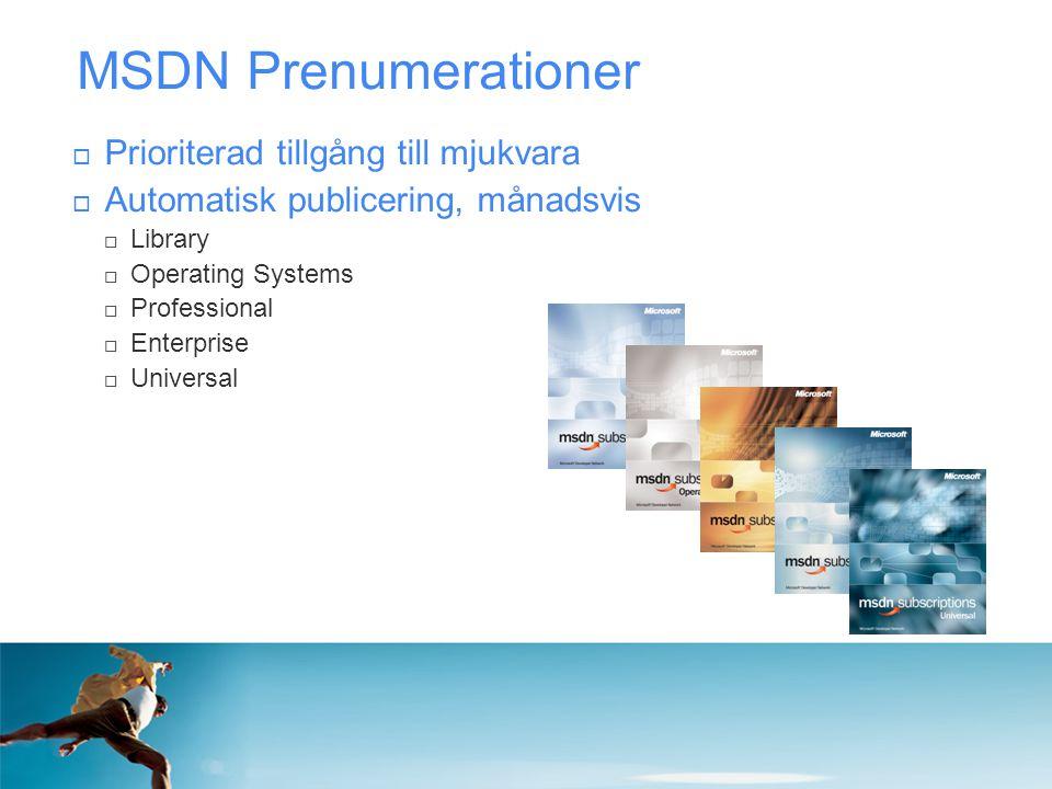 MSDN Prenumerationer  Prioriterad tillgång till mjukvara  Automatisk publicering, månadsvis  Library  Operating Systems  Professional  Enterpris