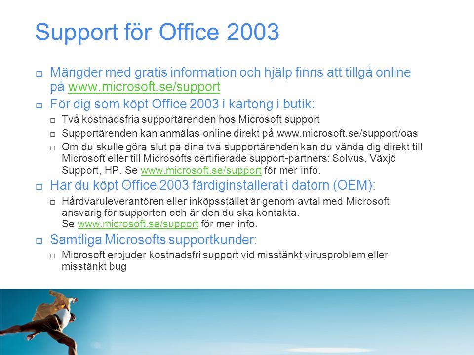 Support för Office 2003  Mängder med gratis information och hjälp finns att tillgå online på www.microsoft.se/supportwww.microsoft.se/support  För d