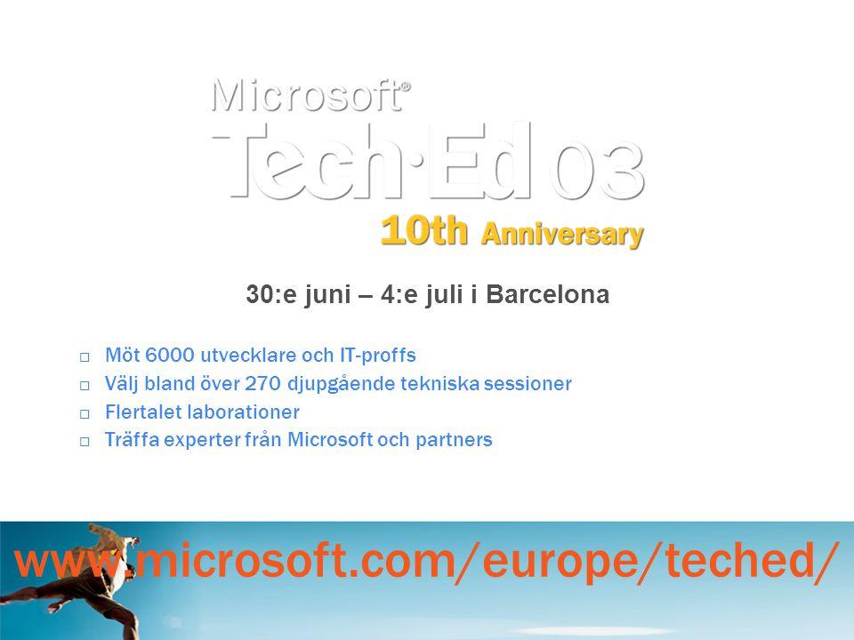  Möt 6000 utvecklare och IT-proffs  Välj bland över 270 djupgående tekniska sessioner  Flertalet laborationer  Träffa experter från Microsoft och