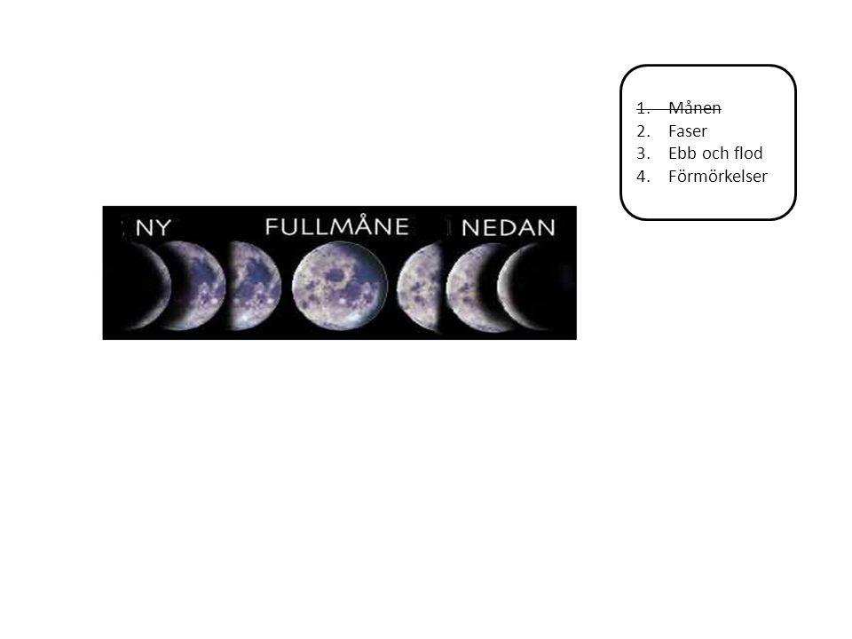 1.Månen 2.Faser 3.Ebb och flod 4.Förmörkelser Månen Ebb = lågvatten Flod = högvatten Månens gravitationskraft påverkar vattenytan i våra hav.