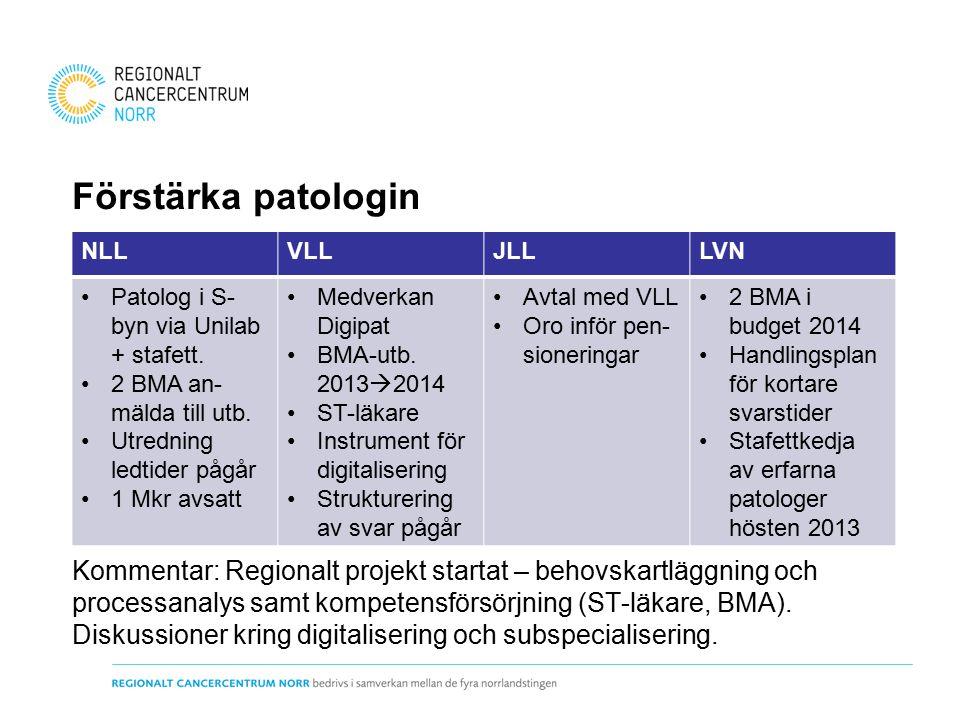 Förstärka patologin Kommentar: Regionalt projekt startat – behovskartläggning och processanalys samt kompetensförsörjning (ST-läkare, BMA).