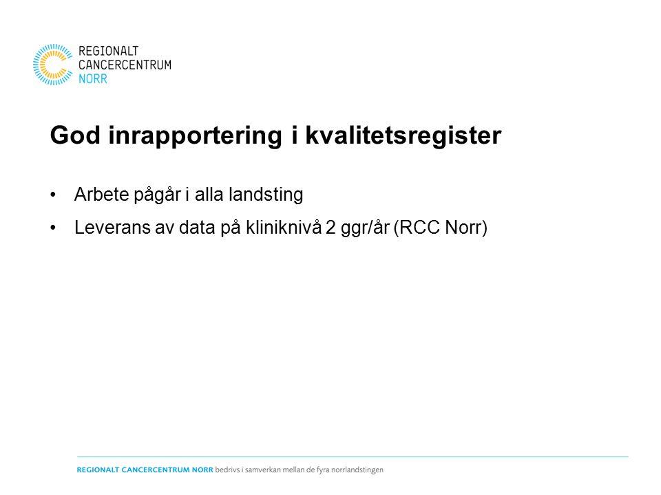 God inrapportering i kvalitetsregister Arbete pågår i alla landsting Leverans av data på kliniknivå 2 ggr/år (RCC Norr)