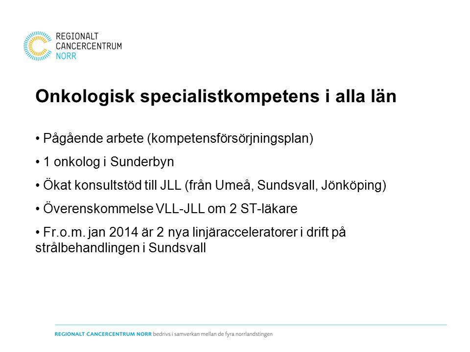 Onkologisk specialistkompetens i alla län Pågående arbete (kompetensförsörjningsplan) 1 onkolog i Sunderbyn Ökat konsultstöd till JLL (från Umeå, Sundsvall, Jönköping) Överenskommelse VLL-JLL om 2 ST-läkare Fr.o.m.