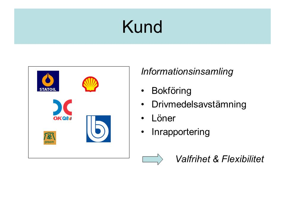 Kund Informationsinsamling Bokföring Drivmedelsavstämning Löner Inrapportering Valfrihet & Flexibilitet