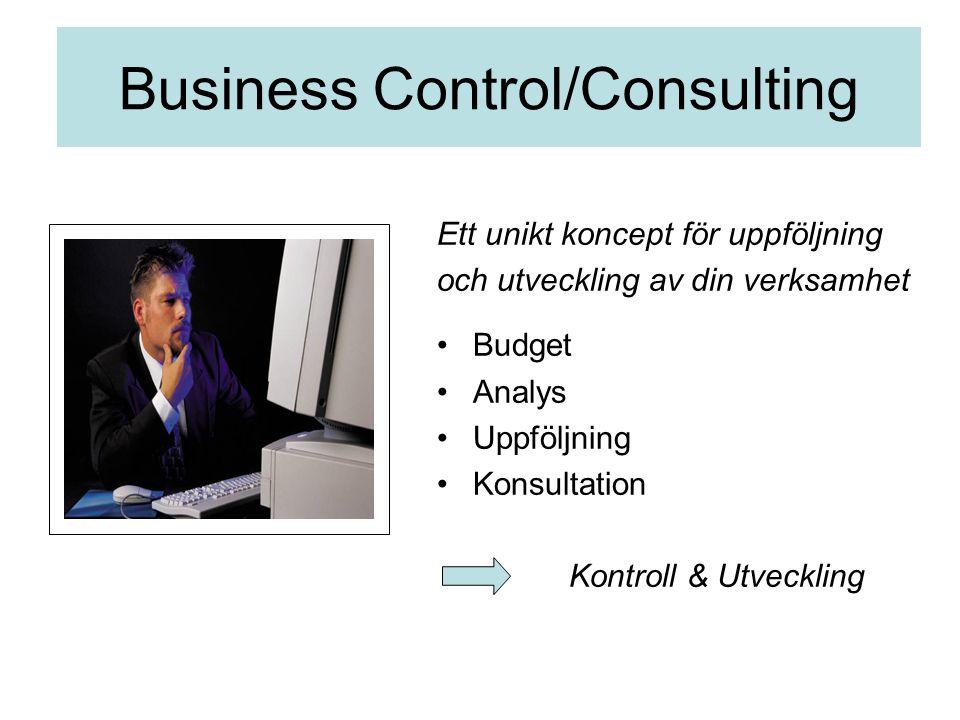 Business Control/Consulting Ett unikt koncept för uppföljning och utveckling av din verksamhet Budget Analys Uppföljning Konsultation Kontroll & Utveckling