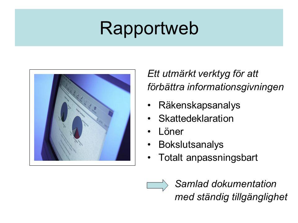 Rapportweb Ett utmärkt verktyg för att förbättra informationsgivningen Räkenskapsanalys Skattedeklaration Löner Bokslutsanalys Totalt anpassningsbart