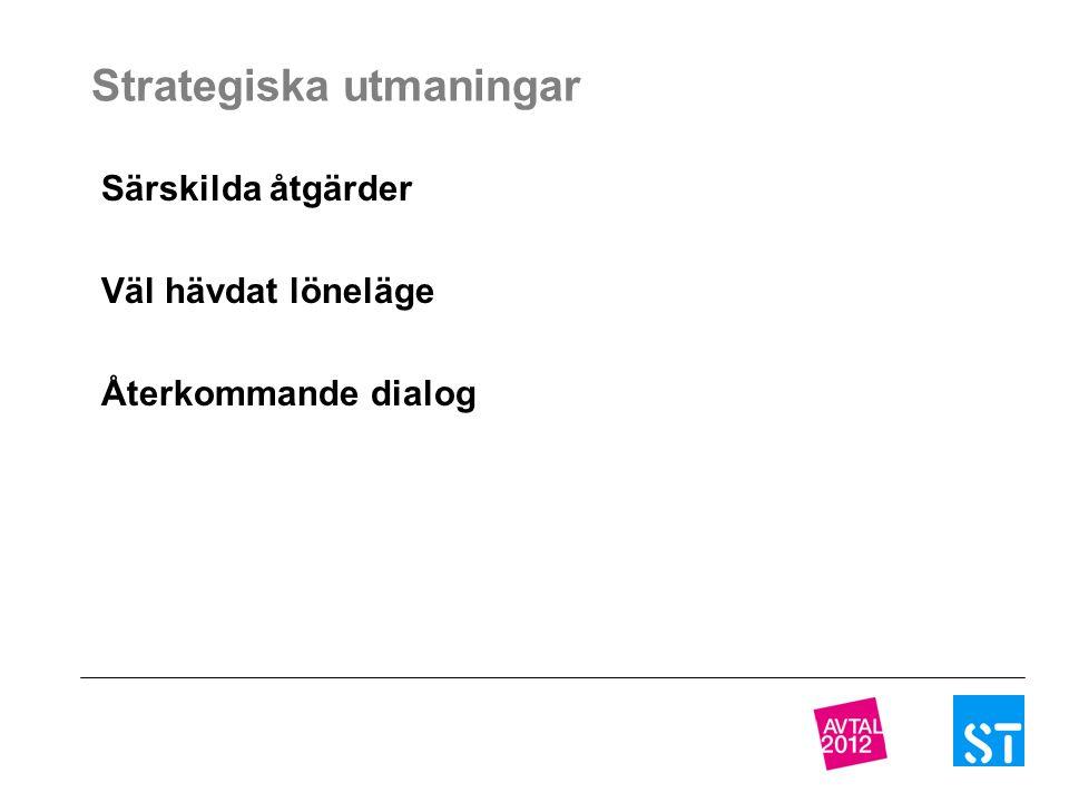 Strategiska utmaningar Särskilda åtgärder Väl hävdat löneläge Återkommande dialog
