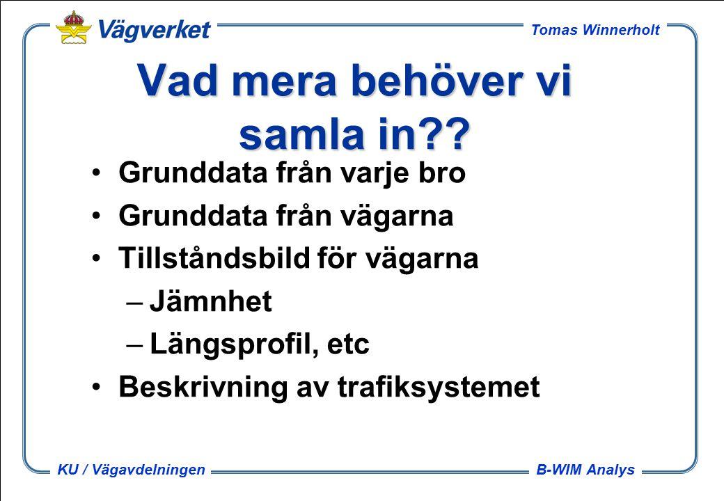 B-WIM Analys Tomas Winnerholt KU / Vägavdelningen Vad mera behöver vi samla in .