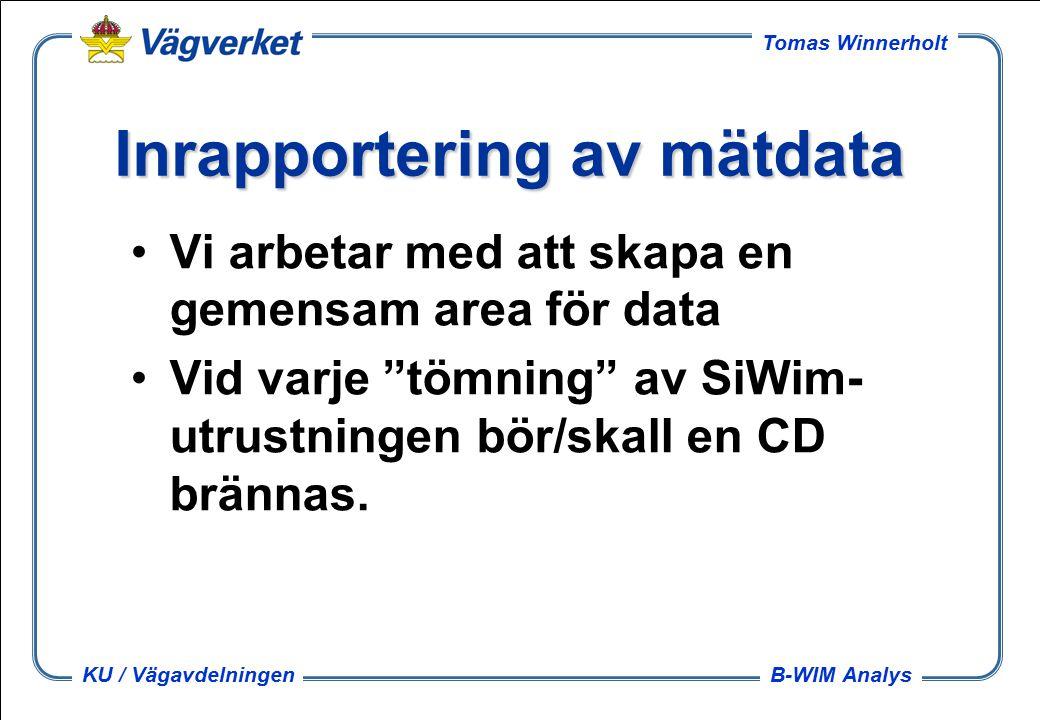 B-WIM Analys Tomas Winnerholt KU / Vägavdelningen Inrapportering av mätdata Vi arbetar med att skapa en gemensam area för data Vid varje tömning av SiWim- utrustningen bör/skall en CD brännas.