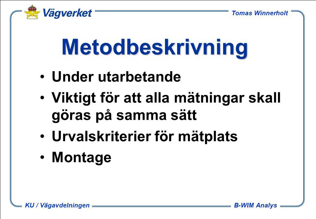 B-WIM Analys Tomas Winnerholt KU / Vägavdelningen Metodbeskrivning Under utarbetande Viktigt för att alla mätningar skall göras på samma sätt Urvalskriterier för mätplats Montage