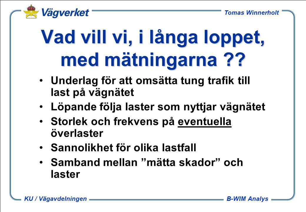 B-WIM Analys Tomas Winnerholt KU / Vägavdelningen Vad vill vi, i långa loppet, med mätningarna .