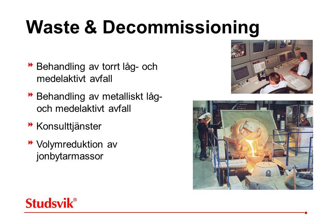 Waste & Decommissioning  Behandling av torrt låg- och medelaktivt avfall  Behandling av metalliskt låg- och medelaktivt avfall  Konsulttjänster  V