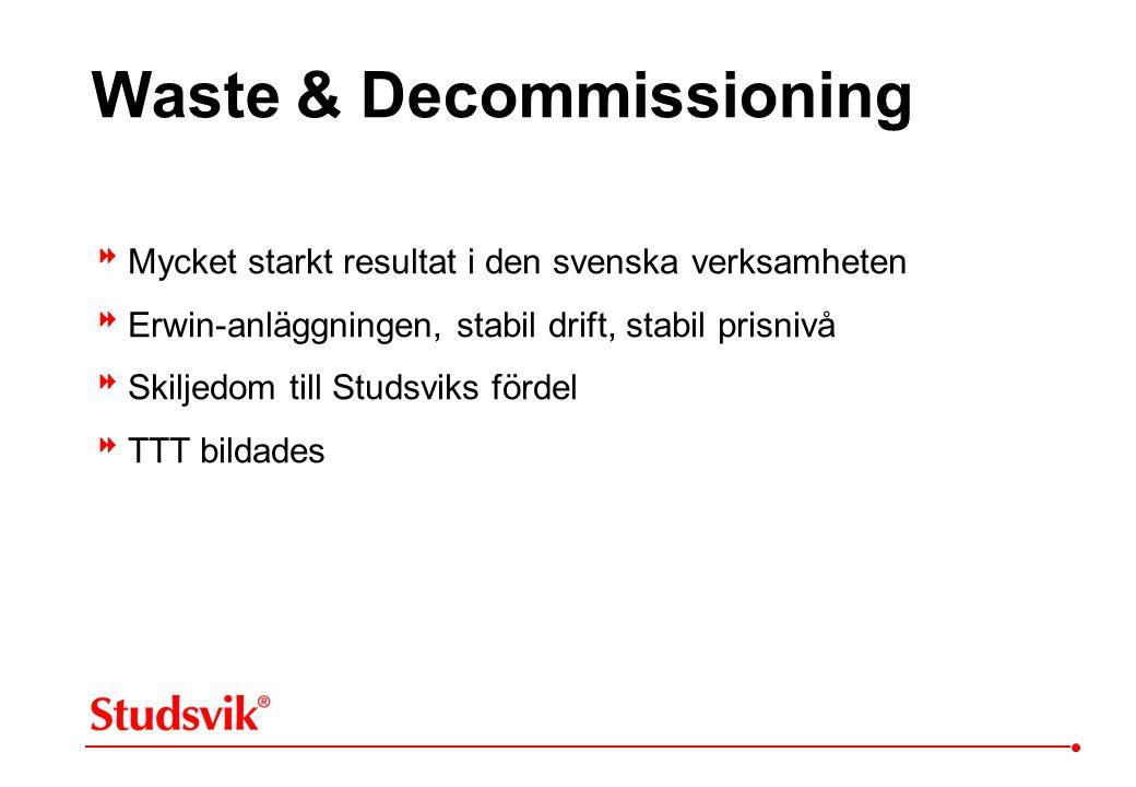  Mycket starkt resultat i den svenska verksamheten  Erwin-anläggningen, stabil drift, stabil prisnivå  Skiljedom till Studsviks fördel  TTT bildad