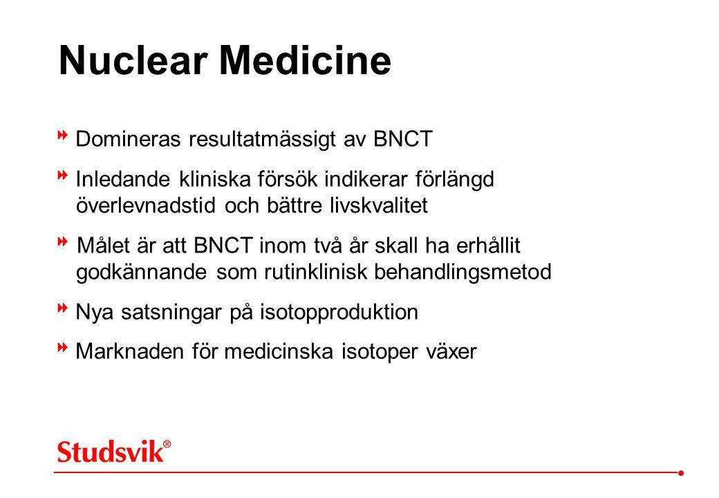  Domineras resultatmässigt av BNCT  Inledande kliniska försök indikerar förlängd överlevnadstid och bättre livskvalitet  Målet är att BNCT inom tv