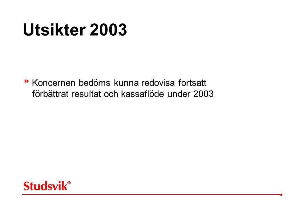 Utsikter 2003  Koncernen bedöms kunna redovisa fortsatt förbättrat resultat och kassaflöde under 2003