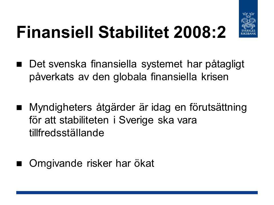 Det svenska finansiella systemet har påtagligt påverkats av den globala finansiella krisen Myndigheters åtgärder är idag en förutsättning för att stabiliteten i Sverige ska vara tillfredsställande Omgivande risker har ökat Finansiell Stabilitet 2008:2