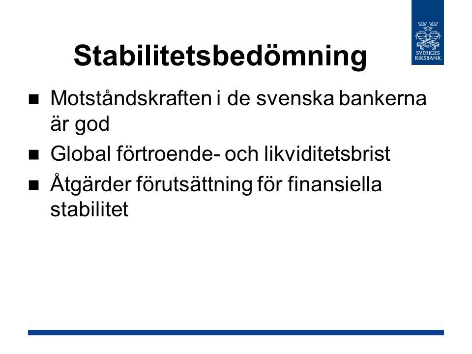 Stabilitetsbedömning Motståndskraften i de svenska bankerna är god Global förtroende- och likviditetsbrist Åtgärder förutsättning för finansiella stabilitet