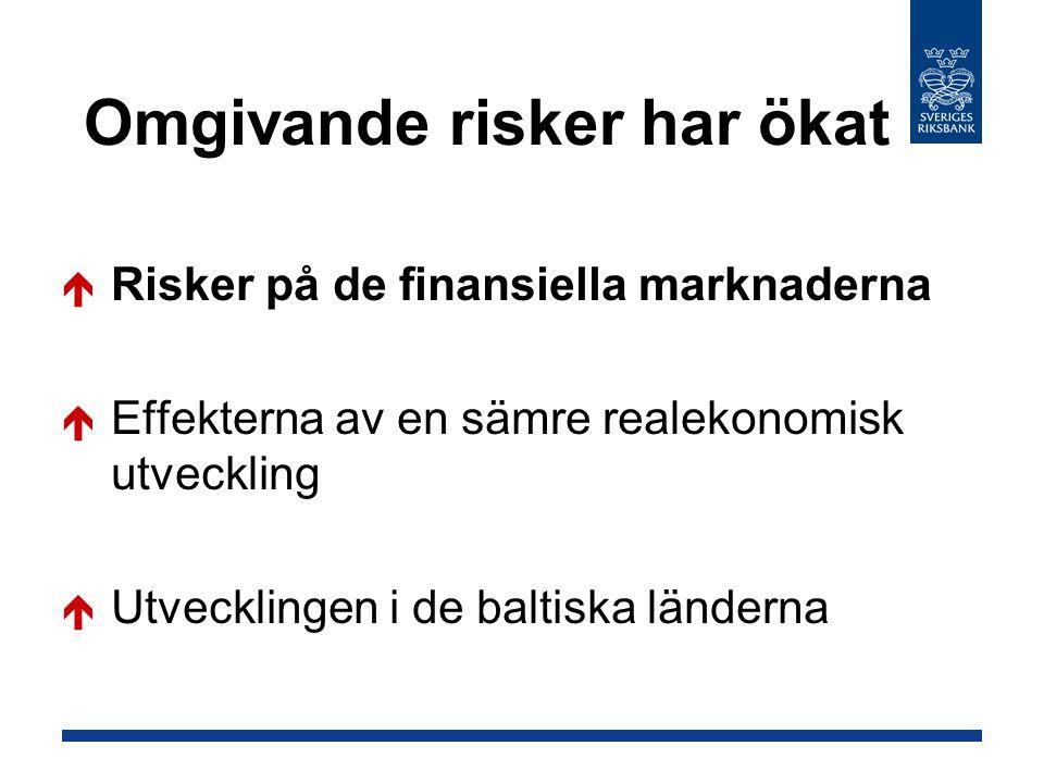 Omgivande risker har ökat  Risker på de finansiella marknaderna  Effekterna av en sämre realekonomisk utveckling  Utvecklingen i de baltiska länderna