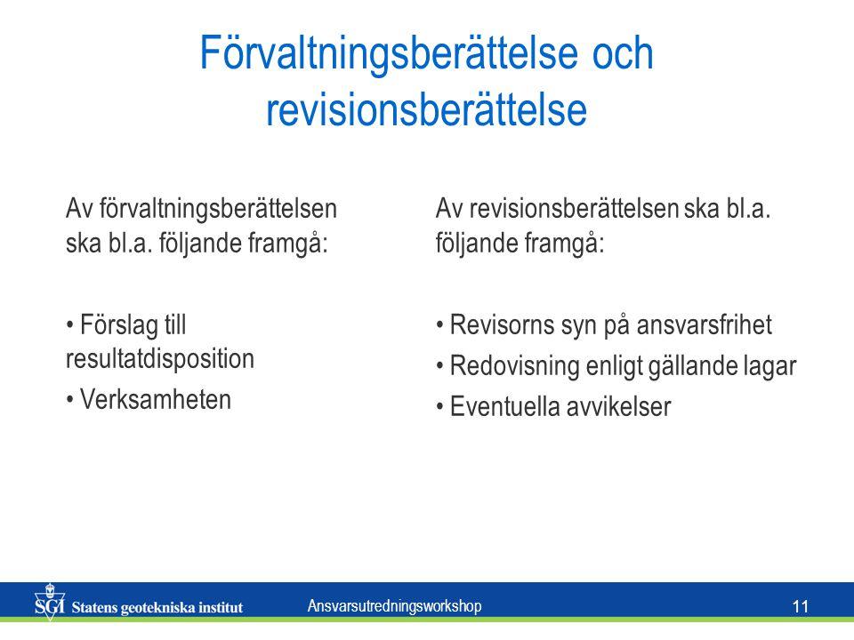 Ansvarsutredningsworkshop 11 Förvaltningsberättelse och revisionsberättelse Av förvaltningsberättelsen ska bl.a.