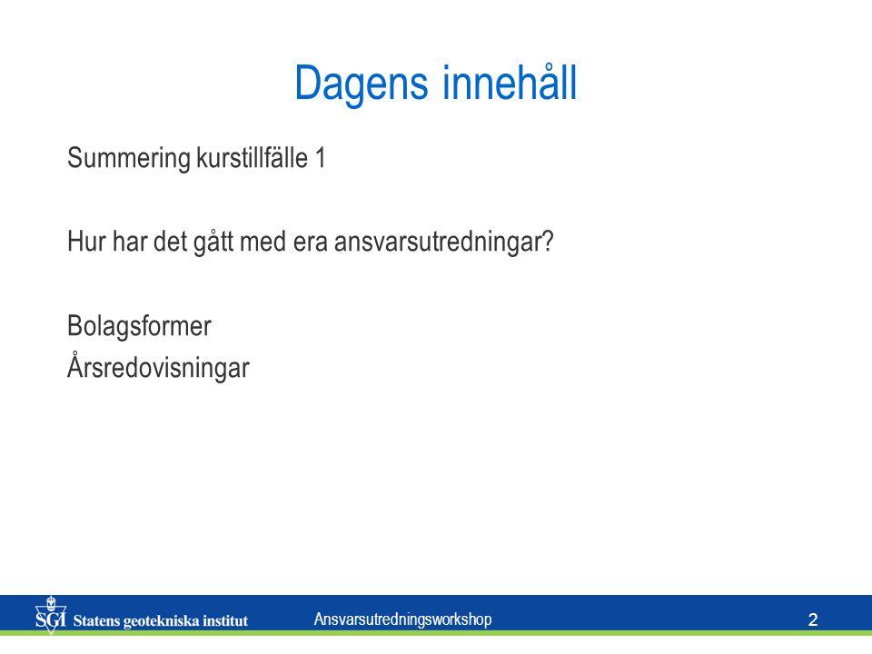 Ansvarsutredningsworkshop 2 Dagens innehåll Summering kurstillfälle 1 Hur har det gått med era ansvarsutredningar.