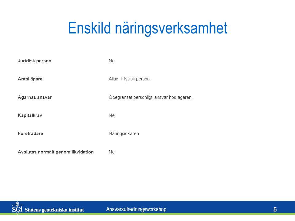 Ansvarsutredningsworkshop 6 (Enkelt bolag) Handelsbolag / Kommanditbolag HandelsbolagKommanditbolag Juridisk personJa Antal ägareMinst 2 personer, fysiska eller juridiska.