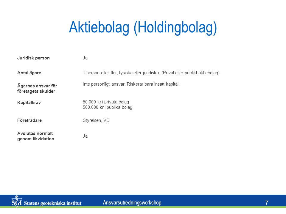 Ansvarsutredningsworkshop 7 Aktiebolag (Holdingbolag) Juridisk personJa Antal ägare1 person eller fler, fysiska eller juridiska.