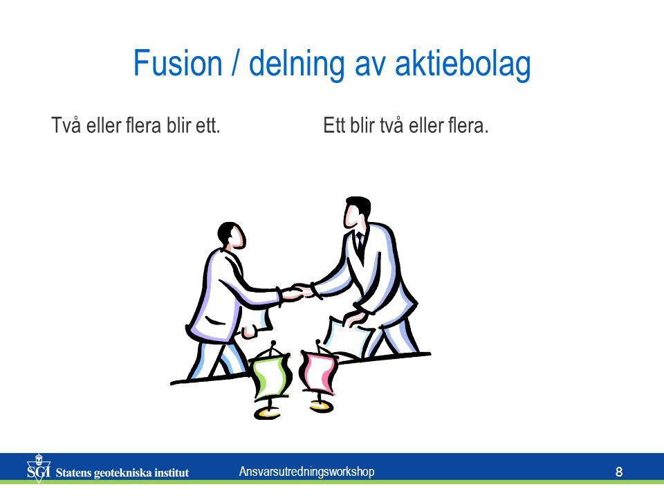 Ansvarsutredningsworkshop 8 Fusion / delning av aktiebolag Två eller flera blir ett.Ett blir två eller flera.