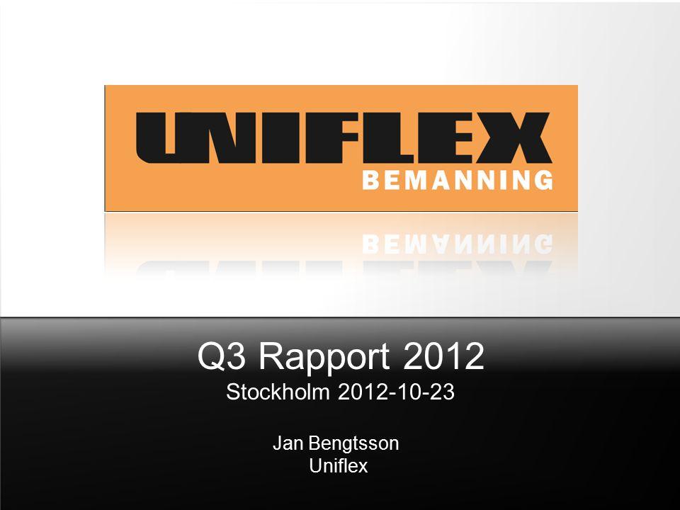 Q3 Rapport 2012 Stockholm 2012-10-23 Jan Bengtsson Uniflex