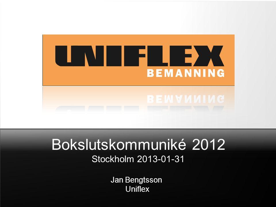 Bokslutskommuniké 2012 Stockholm 2013-01-31 Jan Bengtsson Uniflex